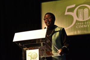 Lindiwe Majele Sibanda of FANRPAN delivers a presentation at the CIMMYT 50th anniversary conference. CIMMYT/Alfonso Cortes