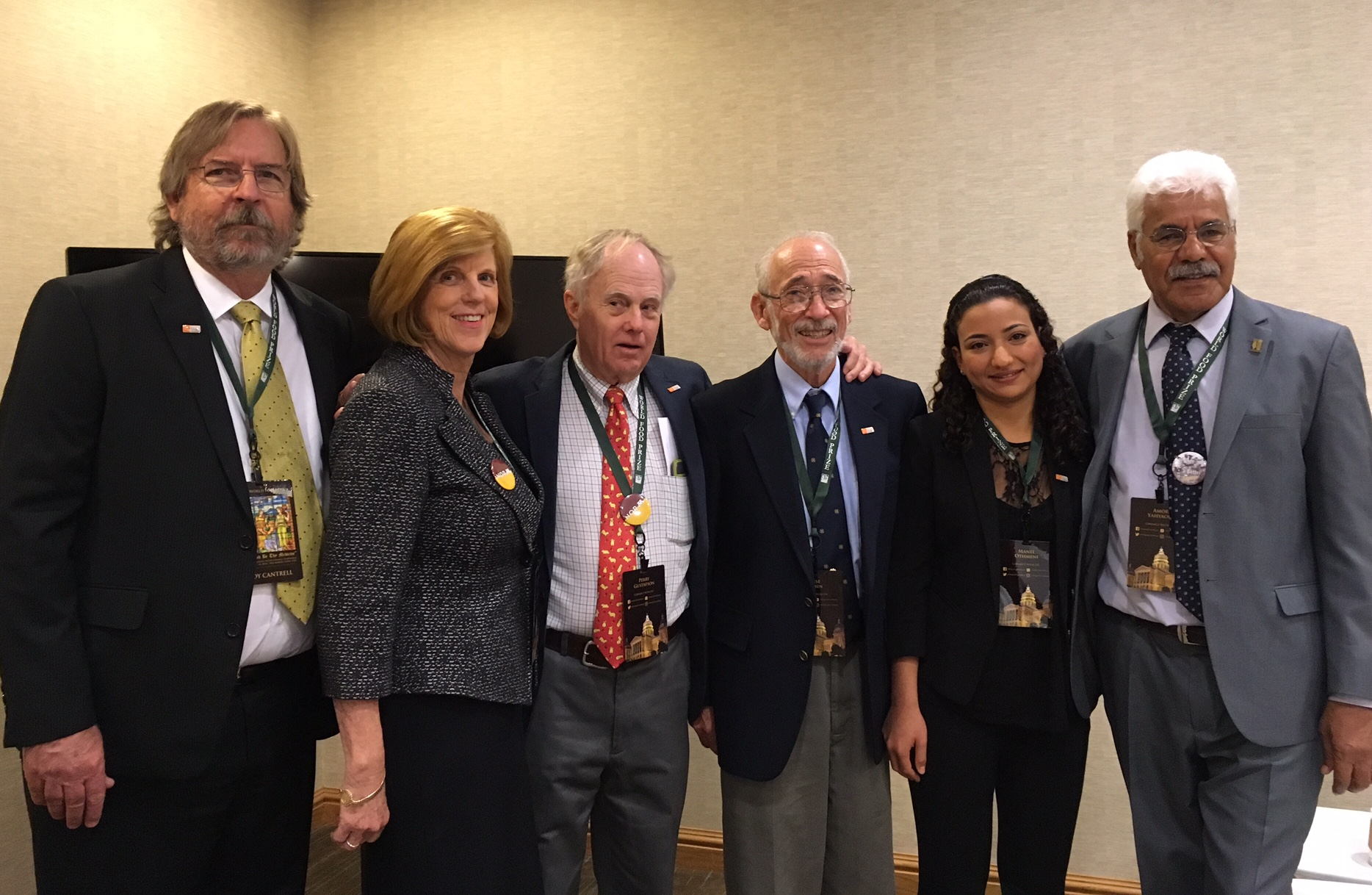 "Roy Cantrell, Jeannie Borlaug Laube, Perry Gustafson, Jessie Dubin, Manel Othmeni , Amor Yahyaoui, panelists from the global wheat community on the ""Training for the Future"" session at World Food Prize Borlaug Dialogue."
