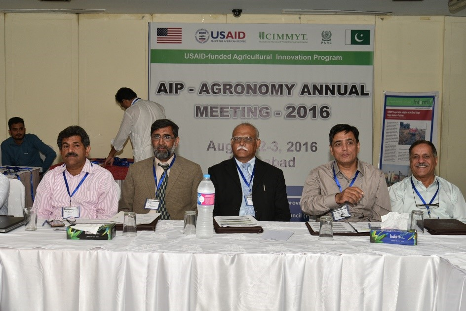 Inaugural session of the meeting. From left to right: Imtiaz Hussain, Ahmed Bakhsh, Nadeem Amjad and Imtiaz Muhammad. Photo: