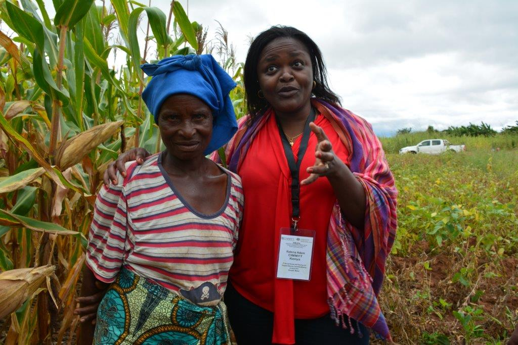 Conservation agriculture systems involve crop rotations and inter-cropping with maize and legumes to increase yields. In the photograph, conservation agriculture practitioner Lughano Mwangonde with the gender development specialist Rahma Adam in Balaka district, Malawi. Photo: CIMMYT/Johnson Siamachira.