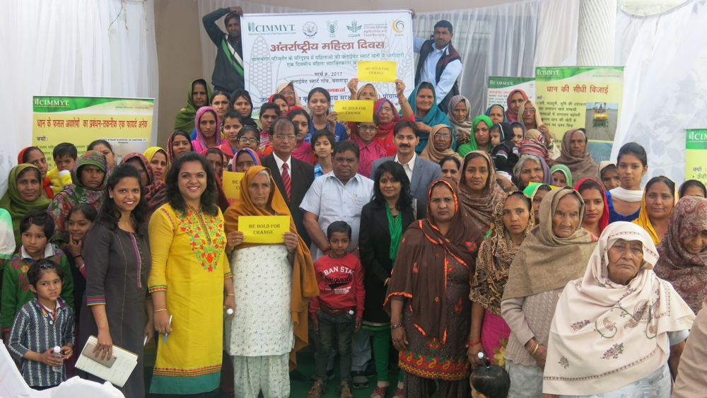 In celebration of International Women's Day, 150 women from villages across Haryana and Bihar, India joined to celebrate the adoption of climate-smart agriculture in their communities. Photo: Kailash C Kalvaniya/ CIMMYT