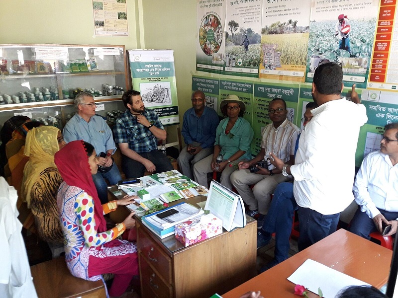 Inside Ayla Traders, an agricultural input dealer who now advises farmers on integrated weed management. Photo: CIMMYT