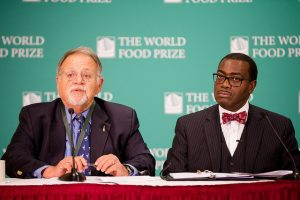 2002 World Food Prize laureate, Pedro Sanchez, a professor at the University of Florida and Akinwumi Adesina, 2017 World Food Prize laureate and president of the African Development Bank speak about fall armyworm at a press conference on the sidelines of the 2017 Borlaug Dialogue conference in Des Moines, Iowa. Credit: World Food Prize
