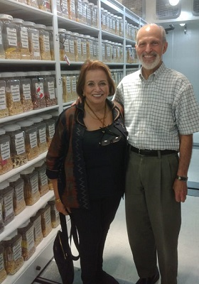 Larry Cooley and his wife, Marina Fanning visiting the CIMMYT germplasm bank. Photo: CIMMYT.