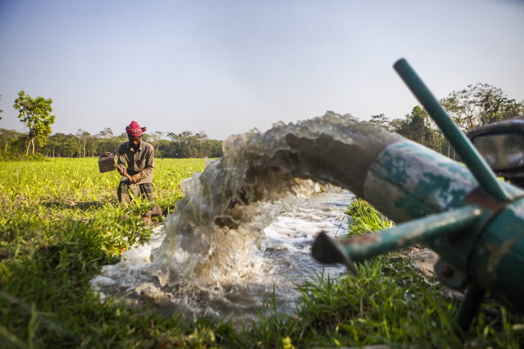 A farmer in Bangladesh irrigates his land using an axial-flow pump. (Photo: Ranak Martin)